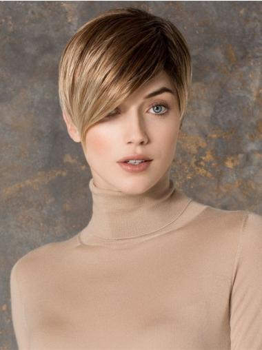 "Blond Kort Rett Lace Front Billig 6"" Petite Parykk"