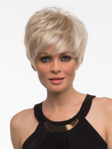 """Rett Maskinknyttet 5"""" Vakker Blond Syntetisk Korte Parykker"""