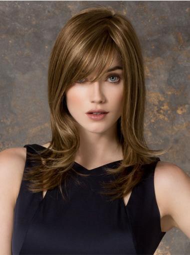 "Rett Stilig Blond 14"" Syntetisk Lang Lace Front Parykk"