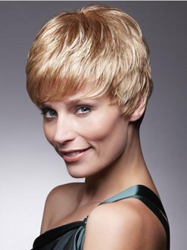"""Remy Hår På Nett 4"""" Blond Rett Maskinknyttet Petite Parykk"""