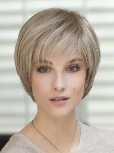 """Rett 4"""" Frekk Blond Kort 100% Håndknyttet Klassiske Parykker"""