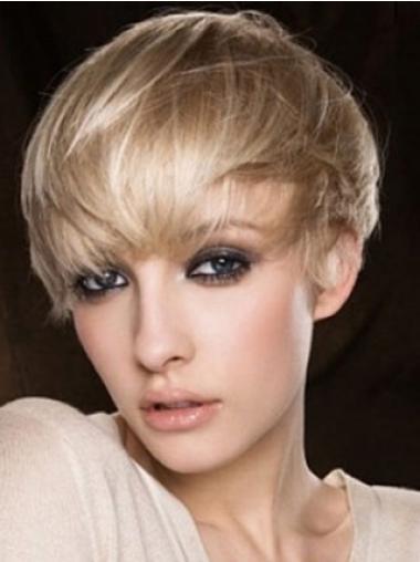 Blond Maskinknyttet Designet Kort Rett Parykk Ekte Hår