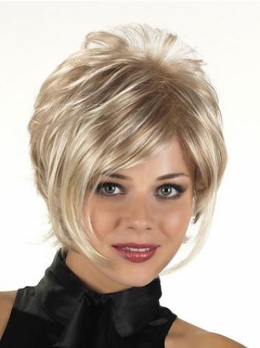 """Krøllete Maskinknyttet 11"""" Ny Blond Syntetisk Korte Parykker"""