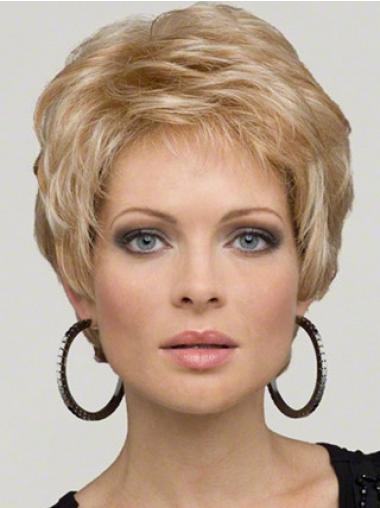 "Bølgete 5"" Vakker Syntetisk Blond Kort Lace Parykk"