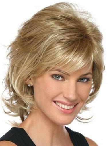 "Problemfri Blond 9"" Halv Lengde Lace Front Bølgete Klassiske Parykker"