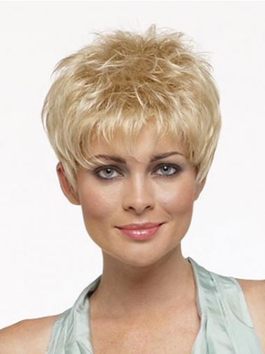 """Rett Maskinknyttet 3"""" Fasjonable Blond Syntetisk Korte Parykker"""