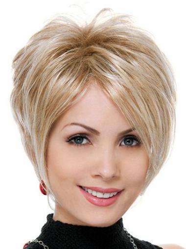 """Syntetisk Rett Beleilig Blond 8"""" Korte Parykker"""