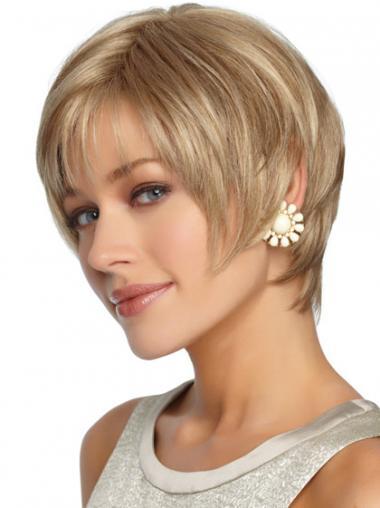 """Syntetisk Rett Passende Blond 7"""" Korte Parykker"""