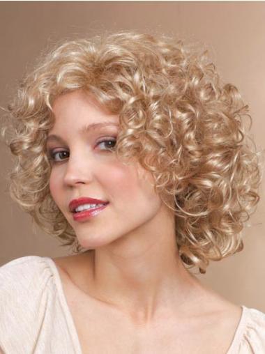 Blond Syntetisk Frekk Krøllete Halvlang Parykker