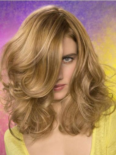 """Bølgete Perfekt Blond 14"""" Halv Lengde Syntetisk Lace Parykk"""