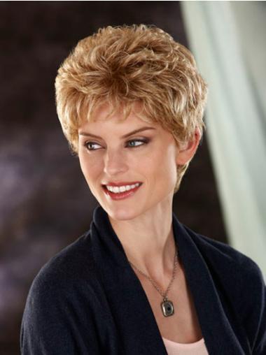 """Fasjonable Blond 8"""" Kort Maskinknyttet Bølgete Klassiske Parykker"""