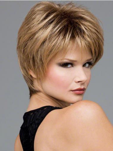 "Bølgete 8"" Gorgeous Syntetisk Blond Kort Lace Parykk"