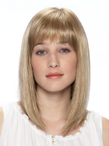 "Myk Syntetisk Blond 14"" Halv Lengde Rett Lace Parykk"