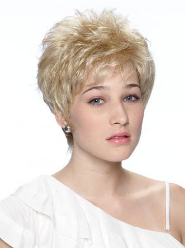 """Bølgete Blond Varig Maskinknyttet 6"""" Korte Parykker"""