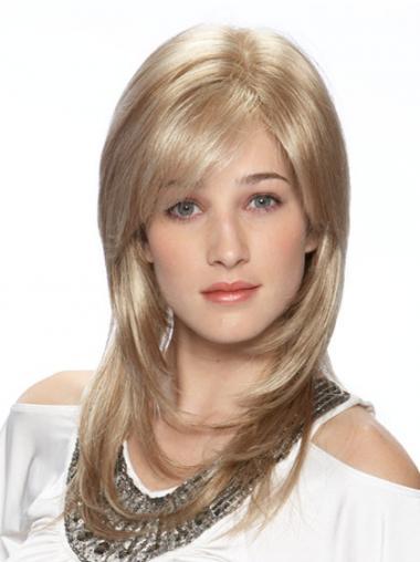"""Rett Flott Blond 16"""" Lang Syntetisk Lace Parykk"""