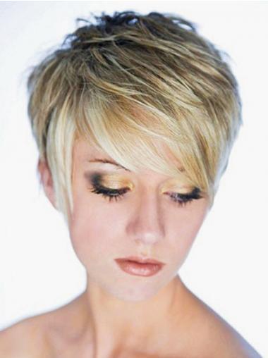 """Rett Maskinknyttet 3"""" Moderne Blond Syntetisk Korte Parykker"""