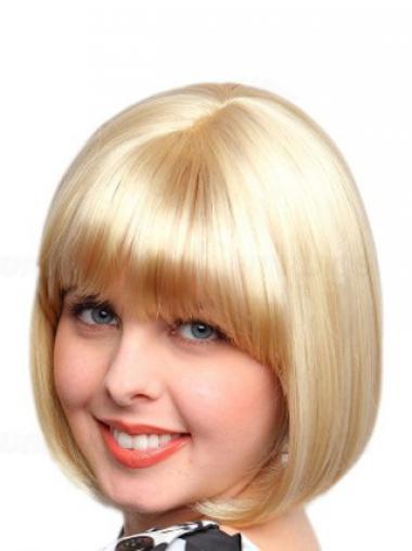 """Halv Lengde Syntetisk 10"""" Trendy Blond Maskinknyttet Bob Parykker"""