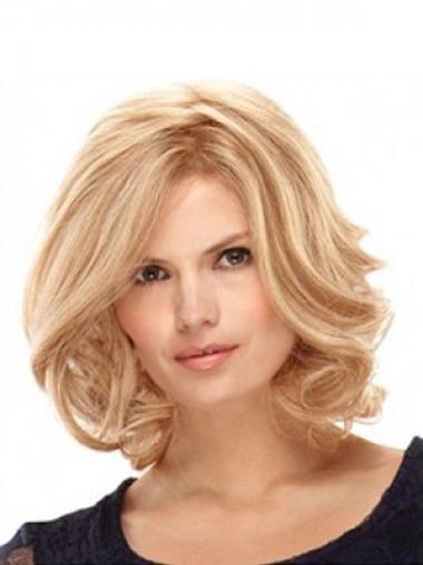 "Bølgete Gorgeous Blond 14"" Halv Lengde Syntetisk Lace Parykk"