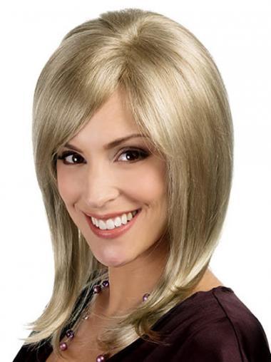 """Rett Topp Blond 15"""" Halv Lengde Syntetisk Lace Parykk"""