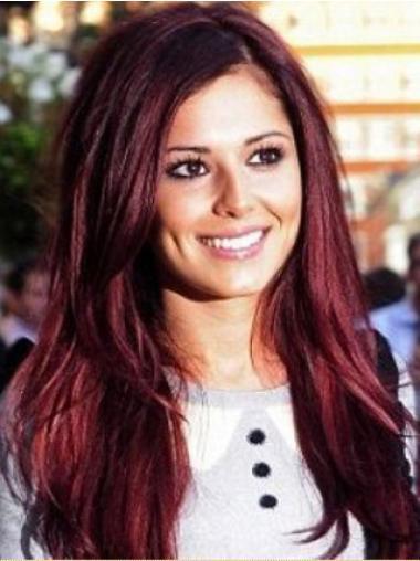 """Rød På Nett 24"""" Rett Maskinknyttet Cheryl Cole Parykk"""