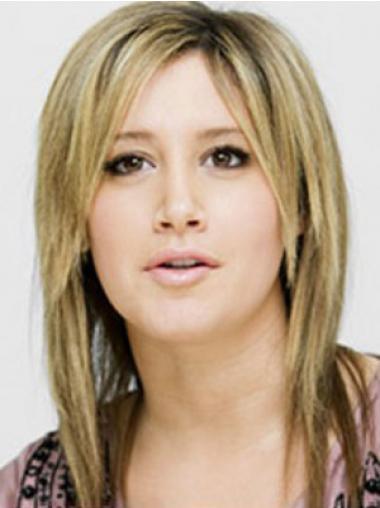 """Maskinknyttet Blond Syntetisk Halv Lengde 14"""" Fabelaktig Ashley Tisdale Parykk"""