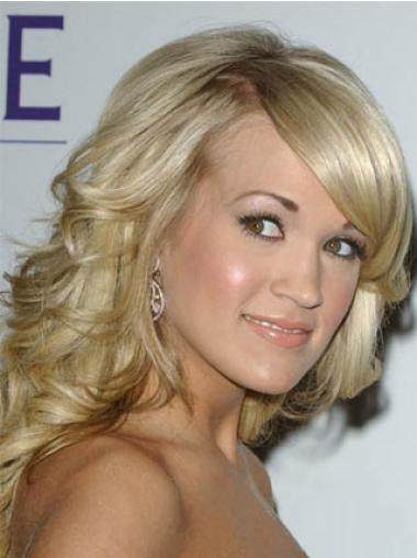 """Blond Mote 14"""" Bølgete Maskinknyttet Carrie Underwood Parykk"""