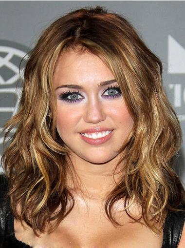 "16"" Brun Gorgeous Syntetisk Halv Lengde Bølgete Miley Cyrus Parykk"