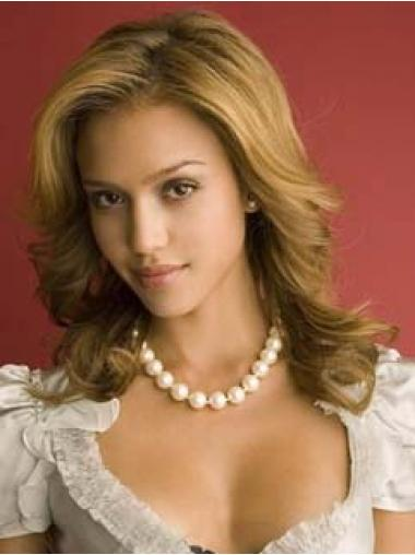 "Bølgete 14"" Blond Lang Lace Front Ideell Jessica Alba Parykk"