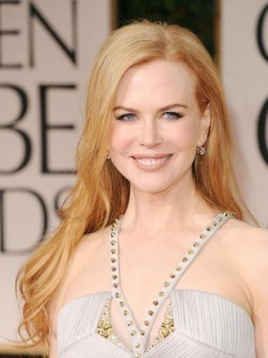 """Blond Lang Bølgete Lace Front Uten Smell 24"""" Perfekt Nicole Kidman Parykk"""