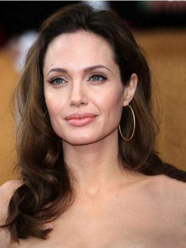 "16"" Brun Remy Hår Lang Perfekt Bølgete Angelina Jolie Parykk"