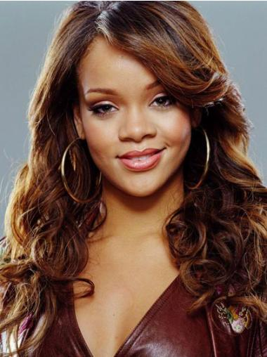 "Auburn Lang Krøllete Maskinknyttet Billigste 18"" Rihanna Parykk"