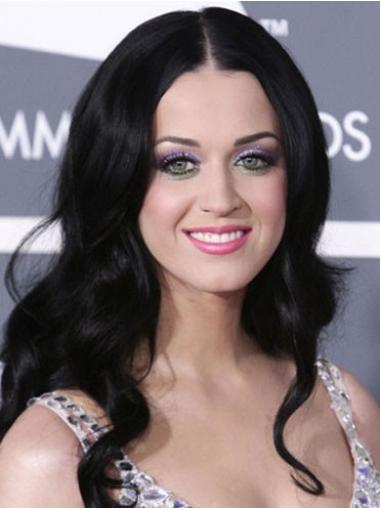 "Svart 20"" Billigste Syntetisk Lang Maskinknyttet Katy Perry Parykk"