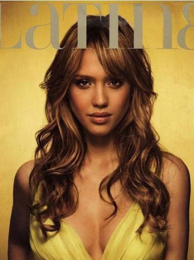 "Bølgete 18"" Brun Lang Lace Front Gorgeous Jessica Alba Parykk"