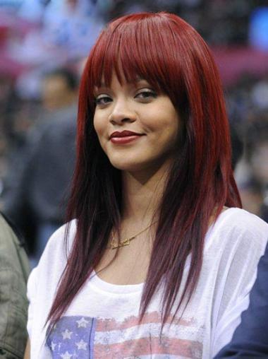 "Rød Lang Rett Maskinknyttet Mote 18"" Rihanna Parykk"