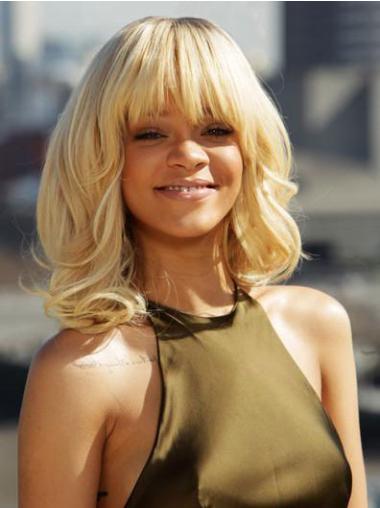 "Blond Halv Lengde Krøllete Maskinknyttet Populær 14"" Rihanna Parykk"