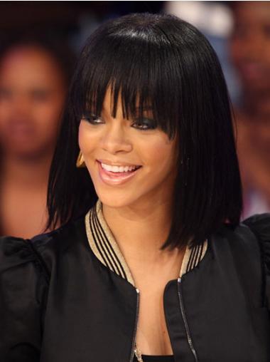 """Svart Halv Lengde Rett Maskinknyttet Naturlig 12"""" Rihanna Parykk"""