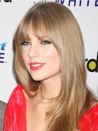"""Maskinknyttet Ny Syntetisk 20"""" Blond Lang Taylor Swift Parykk"""