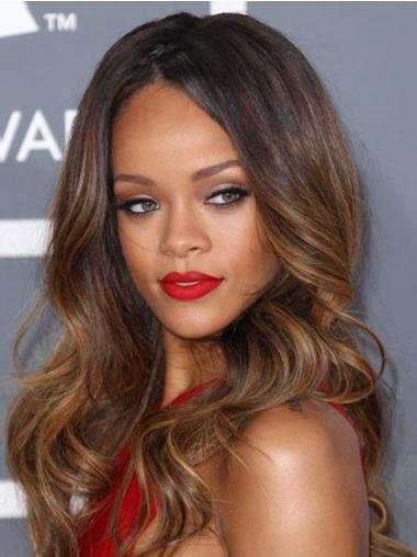 "Lace Front Bølgete 24"" Utrolig Syntetisk Rihanna Parykk"