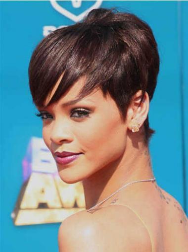 """Maskinknyttet Rett 5"""" Frekk Syntetisk Rihanna Parykk"""