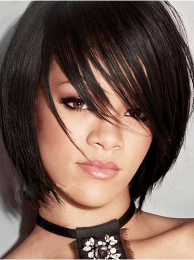 "Svart Halv Lengde Rett Maskinknyttet Billig 9"" Rihanna Parykk"