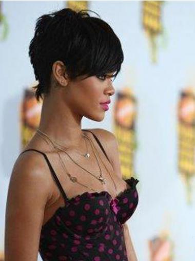 """Maskinknyttet Rett 5"""" Vakker Indisk Remy Hår Rihanna Parykk"""