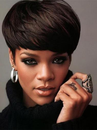 """Maskinknyttet Rett 5"""" Designet Indisk Remy Hår Rihanna Parykk"""