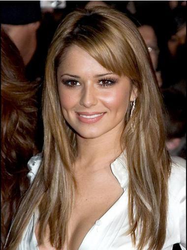 """Blond Beleilig 18"""" Rett Maskinknyttet Cheryl Cole Parykk"""
