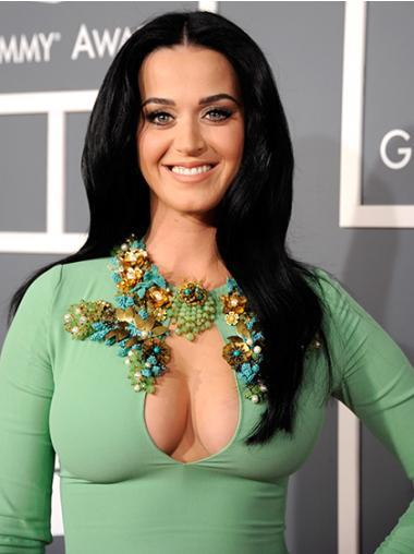 "Svart 20"" Passende Syntetisk Lang Maskinknyttet Katy Perry Parykk"