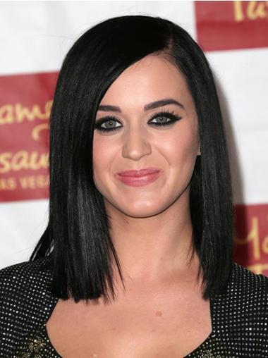"""Svart 12"""" Mote Syntetisk Halv Lengde Maskinknyttet Katy Perry Parykk"""