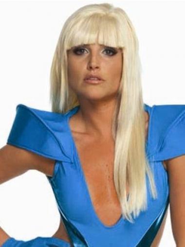 "Rett 22"" Mote Syntetisk Blond Lang Lady Gaga Parykk"