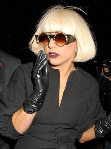 "Rett 10"" Naturlig Syntetisk Blond Halv Lengde Lady Gaga Parykk"