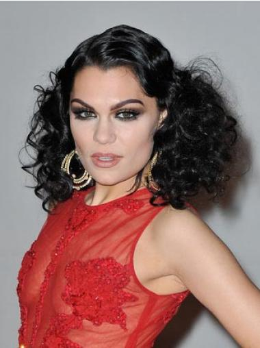 """Svart 16"""" Ny Syntetisk Halv Lengde Lace Front Jessie J Parykk"""