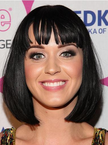 "Svart 12"" Populær Syntetisk Halv Lengde Maskinknyttet Katy Perry Parykk"