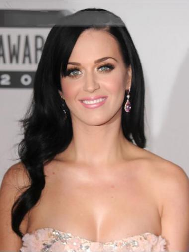 "Svart 20"" Utrolig Remy Hår Lang Lace Front Katy Perry Parykk"